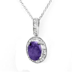 1.02 CTW Tanzanite & Diamond Pendant 14K White Gold - REF-23A3X - 14229