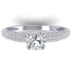 1.4 CTW Certified VS/SI Diamond Solitaire Art Deco Micro Ring 14K White Gold - REF-206M2H - 30411