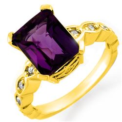 4.25 CTW Amethyst & Diamond Ring 14K Yellow Gold - REF-44F4N - 10412
