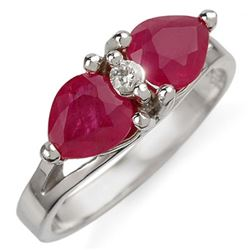 2.05 CTW Ruby & Diamond Ring 10K White Gold - REF-18A2X - 10931