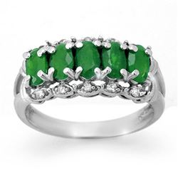 1.75 CTW Emerald & Diamond Ring 18K White Gold - REF-46H5A - 12577