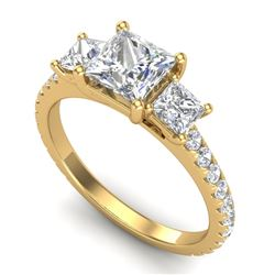 2.14 CTW Princess VS/SI Diamond Art Deco 3 Stone Ring 18K Yellow Gold - REF-454T5M - 37207