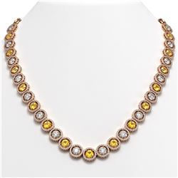 35.54 CTW Canary Yellow & White Diamond Designer Necklace 18K Rose Gold - REF-5036M2H - 42687