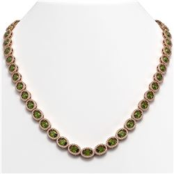 31.1 CTW Tourmaline & Diamond Halo Necklace 10K Rose Gold - REF-600H2A - 40422