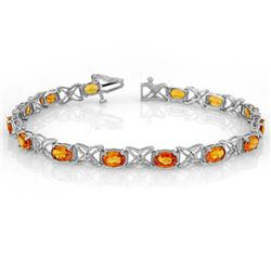 10.15 CTW Orange Sapphire & Diamond Bracelet 18K White Gold - REF-111A8X - 11673