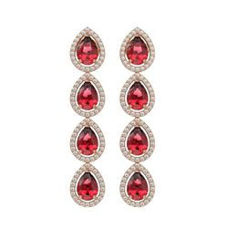 7.88 CTW Tourmaline & Diamond Halo Earrings 10K Rose Gold - REF-166W8F - 41157