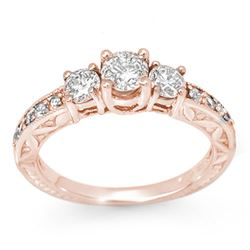 0.95 CTW Certified VS/SI Diamond Ring 14K Rose Gold - REF-129M5H - 11915