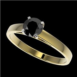 0.75 CTW Fancy Black VS Diamond Solitaire Engagement Ring 10K Yellow Gold - REF-23K5W - 32976