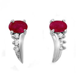 0.72 CTW Ruby & Diamond Earrings 18K White Gold - REF-19T3M - 12774
