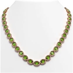 48.14 CTW Peridot & Diamond Halo Necklace 10K Rose Gold - REF-756W5F - 40581