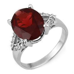 6.20 CTW Garnet & Diamond Ring 10K White Gold - REF-40A2X - 11314