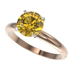 2 CTW Certified Intense Yellow SI Diamond Solitaire Engagement Ring 10K Rose Gold - REF-527A3X - 329