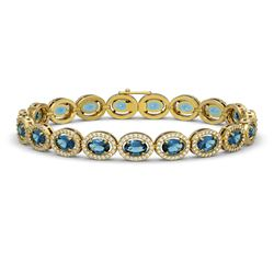 14.82 CTW London Topaz & Diamond Halo Bracelet 10K Yellow Gold - REF-232K5W - 40489