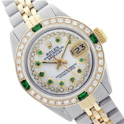 Rolex Men's Two Tone 14K Gold/SS, QuickSet, Diam/Ruby Dial & Diam/Emerald Bezel - REF-575M2F