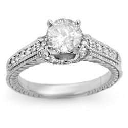 1.50 CTW Certified VS/SI Diamond Ring 14K White Gold - REF-376N9Y - 11268