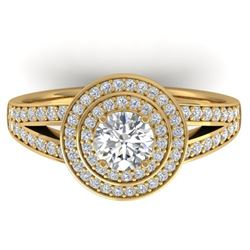 1.15 CTW Certified VS/SI Diamond Art Deco Halo Ring 14K Yellow Gold - REF-147K3W - 30365