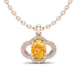 1.75 CTW Citrine & Micro Pave VS/SI Diamond Necklace 10K Rose Gold - REF-29W5F - 20627