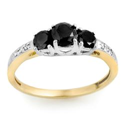 1.05 CTW VS Certified Black & White Diamond Ring 14K 2-Tone Gold - REF-43K6W - 11790