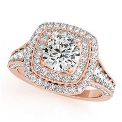 2 CTW Certified VS/SI Diamond Solitaire Halo Ring 18K Rose Gold - REF-439K8W - 26471