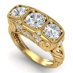 2.51 CTW VS/SI Diamond Solitaire Art Deco 3 Stone Ring 18K Yellow Gold - REF-436M4H - 36991