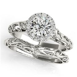0.62 CTW Certified VS/SI Diamond Solitaire 2Pc Wedding Set Antique 14K White Gold - REF-110X9T - 314