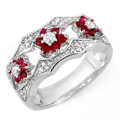 0.85 CTW Ruby & Diamond Ring 14K White Gold - REF-65H3A - 11617
