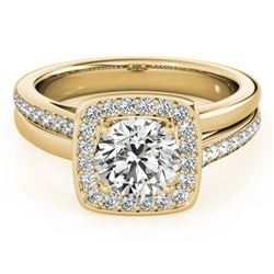 0.85 CTW Certified VS/SI Diamond Solitaire Halo Ring 18K Yellow Gold - REF-147M3H - 26840