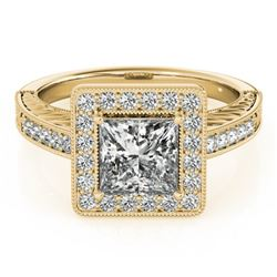 1.05 CTW Certified VS/SI Princess Diamond Solitaire Halo Ring 18K Yellow Gold - REF-218K2W - 27119