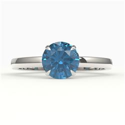 2 CTW London Blue Topaz Inspired Solitaire Engagement Ring 18K White Gold - REF-36N2Y - 22229