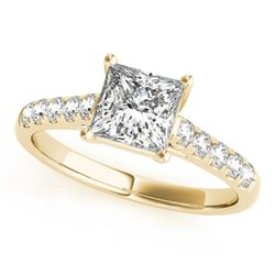 1.3 CTW Certified VS/SI Princess Diamond Ring 18K Yellow Gold - REF-371N5Y - 28118