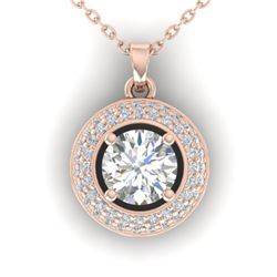 1.1 CTW Certified VS/SI Diamond Micro Halo Stud Necklace 14K Rose Gold - REF-180K2W - 30493