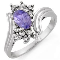 1.0 CTW Tanzanite & Diamond Ring 18K White Gold - REF-47X3T - 10149