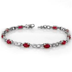 3.51 CTW Ruby & Diamond Bracelet 10K White Gold - REF-29M3H - 11400