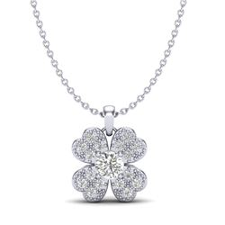 0.27 CTW Micro Pave VS/SI Diamond Necklace 18K White Gold - REF-34M2H - 20351