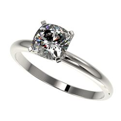 1 CTW Certified VS/SI Quality Cushion Cut Diamond Solitaire Ring 10K White Gold - REF-297H2A - 32900