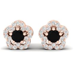 0.65 CTW Micro Pave VS/SI Diamond Earrings Moon Halo In 10K Rose Gold - REF-28A5X - 21207