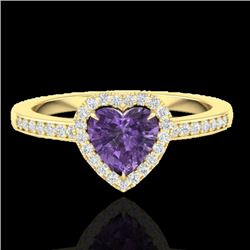 1 CTW Amethyst & Micro Pave Ring Heart Halo 14K Yellow Gold - REF-33H6A - 21401