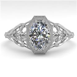 1.0 CTW VS/SI Oval Diamond Solitaire Engagement Ring Deco Size 7 18K White Gold - REF-299X4T - 36039