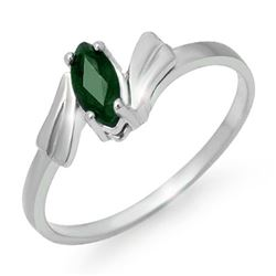 0.20 CTW Emerald Ring 18K White Gold - REF-22A5X - 12983