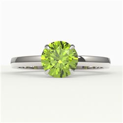 2 CTW Peridot Designer Inspired Solitaire Engagement Ring 18K White Gold - REF-36W2F - 22233