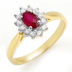 0.51 CTW Ruby & Diamond Ring 10K Yellow Gold - REF-18X4T - 12618