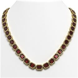 60.59 CTW Garnet & Diamond Halo Necklace 10K Yellow Gold - REF-676X5T - 41377