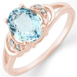 1.56 CTW Aquamarine & Diamond Ring 14K Rose Gold - REF-24K2W - 11207