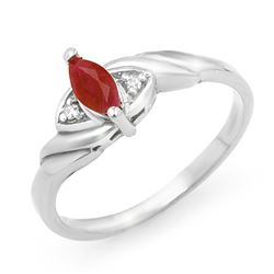 0.26 CTW Ruby & Diamond Ring 10K White Gold - REF-12Y9K - 12292