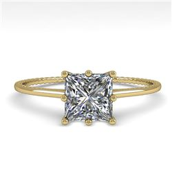 1.0 CTW VS/SI Princess Diamond Solitaire Engagement Ring Size 7 18K Yellow Gold - REF-287W4F - 35896