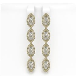 6.08 CTW Marquise Diamond Designer Earrings 18K Yellow Gold - REF-1136A2X - 42748