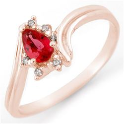 0.35 CTW Red Sapphire & Diamond Ring 18K Rose Gold - REF-26N4Y - 11450