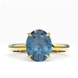 3.50 CTW London Blue Topaz Designer Solitaire Ring 18K Yellow Gold - REF-36Y2K - 22070