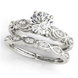 0.94 CTW Certified VS/SI Diamond Solitaire 2Pc Wedding Set Antique 14K White Gold - REF-195K8W - 314