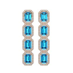 11.13 CTW Swiss Topaz & Diamond Halo Earrings 10K Rose Gold - REF-150M9H - 41460